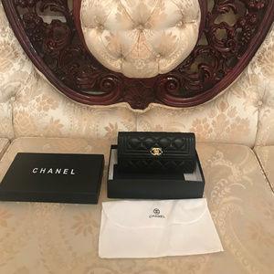 Chanel Dupe Boy Wallet Clutch Black Gold Hardware